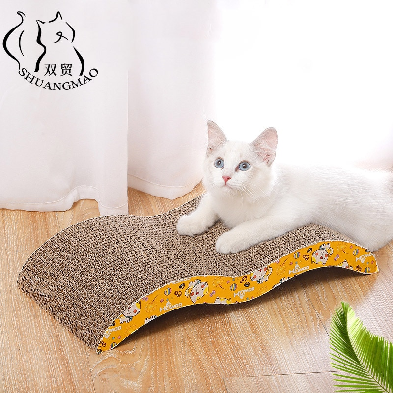 SHUANGMAO Deluxe 3 Form Haustier Katze Spielzeug Scratch Board Sofa Design Organische Katzenminze Kätzchen Well Papier Pad Katzen Nagel Schaber matte