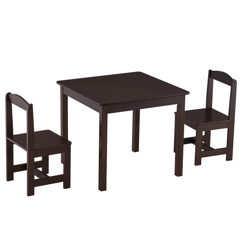[60x60x52] سم MDF طاولة أطفال بسيطة وكرسي مجموعة الاطفال الجدول وكرسي مجموعة من 3 1 الجدول 2 الكراسي البني