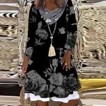 ฤดูร้อนสบายๆแขนยาว A-Line ชุดหลวมแฟชั่น Elegant O-Neck Vintage พิมพ์ชุดสตรี Vestidos