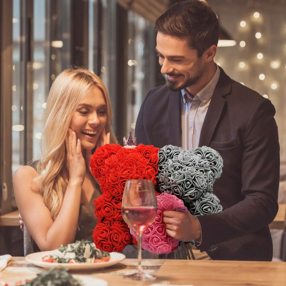 # Quente artificial rosa flor ursinho exclusivo presente do urso para a mulher dia dos namorados aniversário natal decoração para casa 10 polegadas