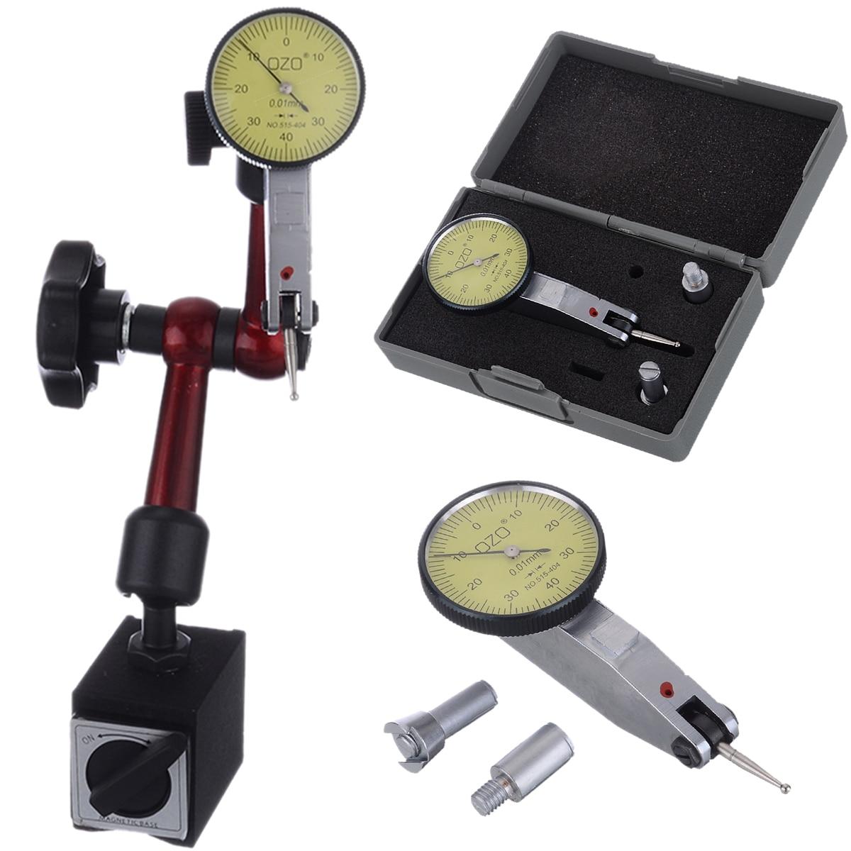 1Pcs Flexible Magnetic Base Holder + Dial Test Indicator Gauge Scale Precision 0-0.8mm Gauge Stand Indicator Tool For Measuring