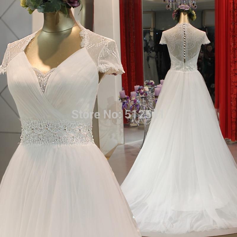 Really Images Sheer robe de mariee Wedding Dress 2019 A Line V Neck Lace Beads Pleats Cap Sleeves Bridal Gowns vestido de noiva