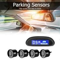 car auto parktronic led parking radar with 4 parking sensors backup car parking radar monitor detector system backlight display