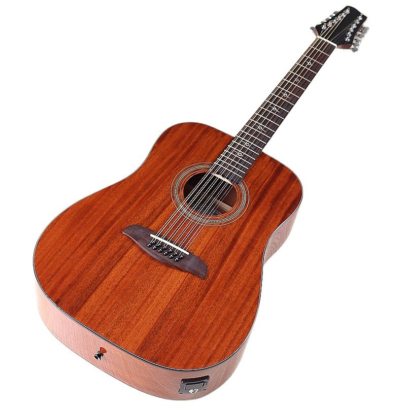 12 Strings Electric Acoustic Guitar Full Sapele Wood Body 41 Inch Full Size Design Folk Guitar High Gloss with Guitar Pickup
