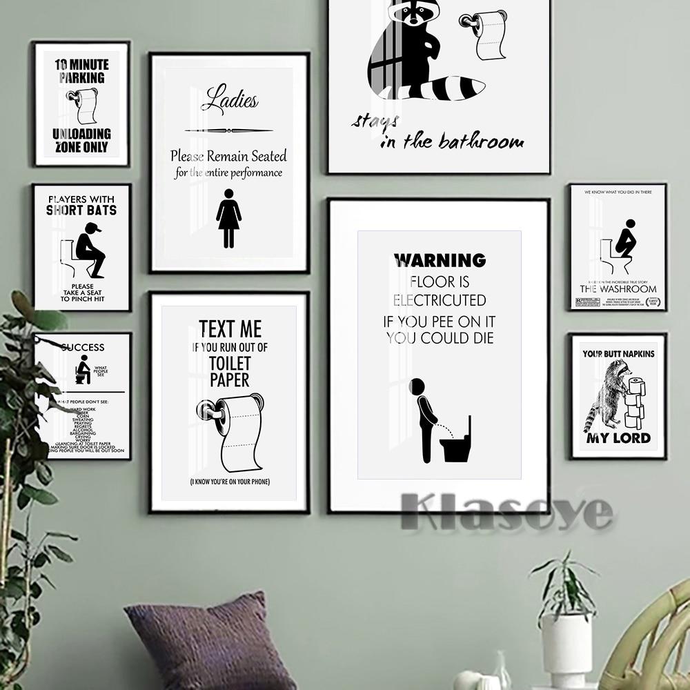 Настенный плакат Humor Spoof унитаз, креативный плакат, черный, белый, современный минималистичный дизайн, Настенная картина для туалета, смешно...