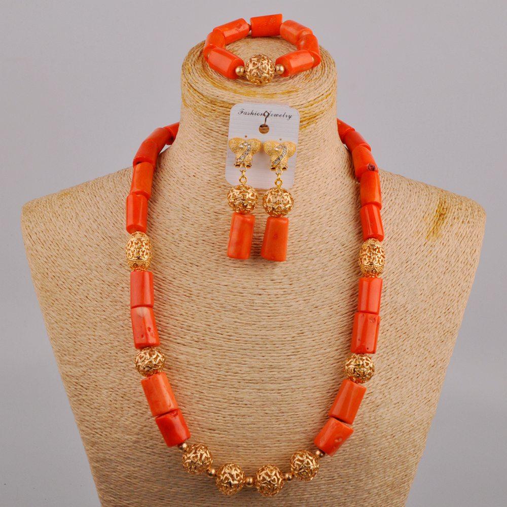 منتج جديد الزفاف الأفريقي تعزيز البرتقال المرجان الطبيعي قلادة النيجيري العروس رائعة مجوهرات الزفاف مجموعة AU-553