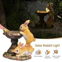 new solar garden led light solar power lights rabbit sculpture resin garden birdbath for outdoor garden decor tuin decoratie