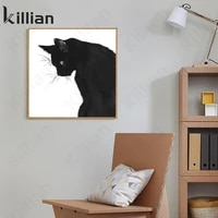 cute cat canvas painting black and white animal posters and prints living room home decoration wall painting wall home decor art