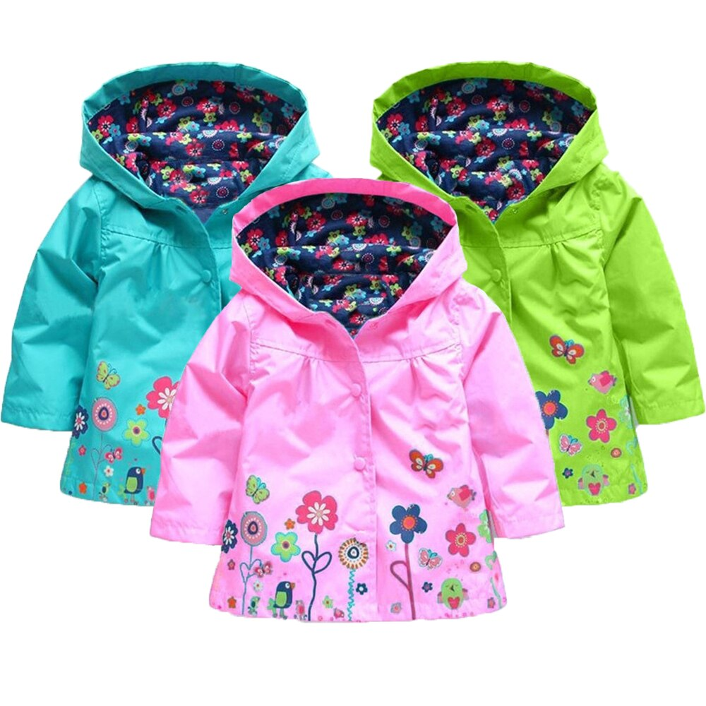 Nuevo abrigo para niñas otoño primavera niño niñas con capucha flor impermeable prendas de vestir para niños chaqueta para niños ropa para niños