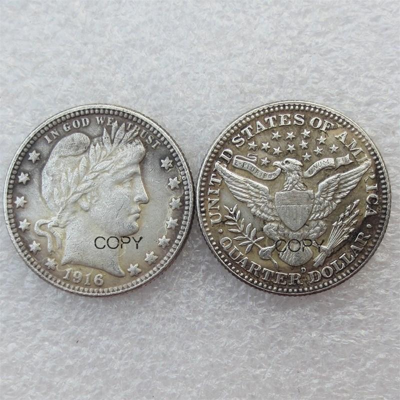 Cuarto de dólar de Barber dólares de EE. UU. 1916 1916-D Moneda de copia chapada en plata de menta diferente