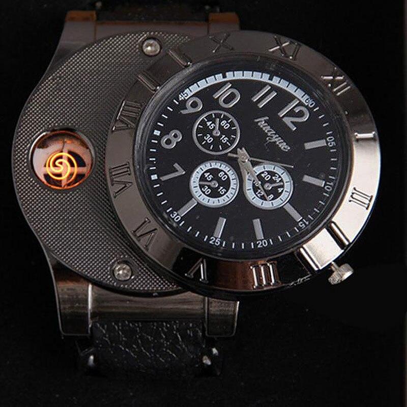 Мужские часы 2019 с USB зарядкой, ветрозащитные электронные беспламенные часы с зажигалкой, мужские кварцевые часы, мужские часы, мужские часы