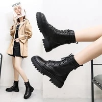 autumn and winter 2021 new boots womens round head thick heel casual short boots lace up short boots middle heel