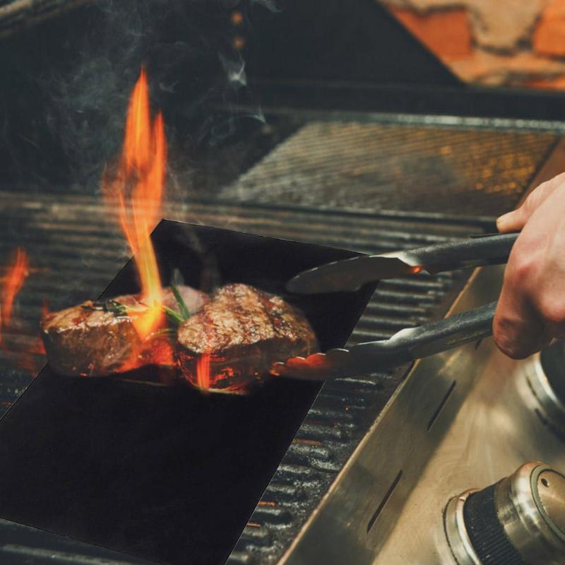 Barbacoa parrilla estera barbacoa al aire libre para hornear almohadilla antiadherente reutilizable teflón placa de cocina para hornos asistidos por ventilador Parrilla de revestimiento herramienta para hornear