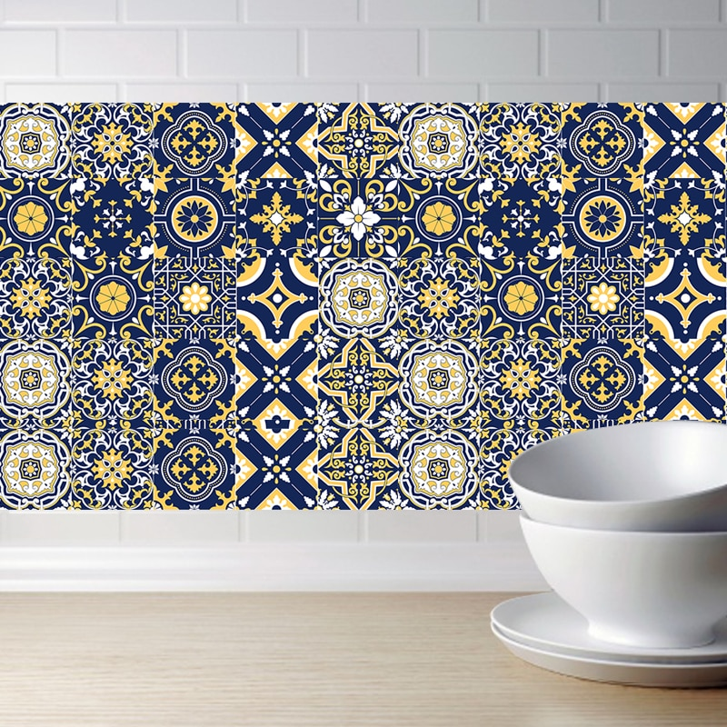 DIY mosaico pared simulación azulejos pegatinas 3D cocina pared pegatina baño inodoro adhesivo impermeable PVC papel pintado línea de cintura