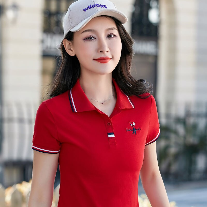 2019 verano mujer slim golf polo camisas de manga corta Casual Piqué logotipo bordado en algodón mujer moda homme botón