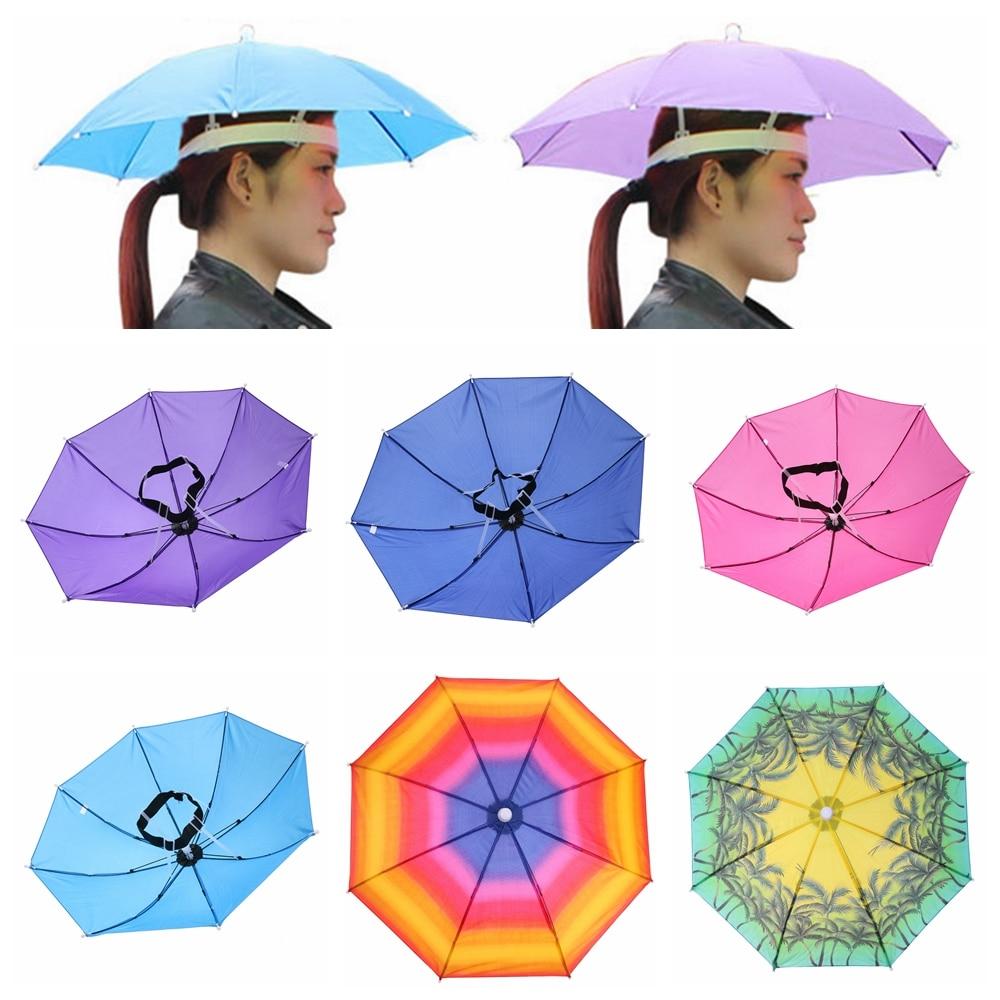 Sombrero con paraguas para hombre y mujer, sombrilla plegable portátil de 55/65cm,...