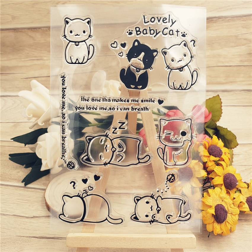 Gran oferta par de sellos transparentes de gato/sellos de silicona sello de rodillo para álbum de fotos de álbum de recortes DIY/fabricación de tarjetas
