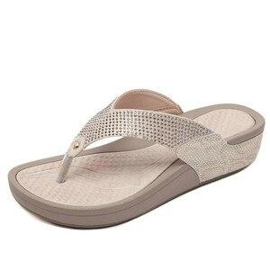 2020 new ladies beaded sequined mesh slippers flip-flop sandals wedges platform shoes