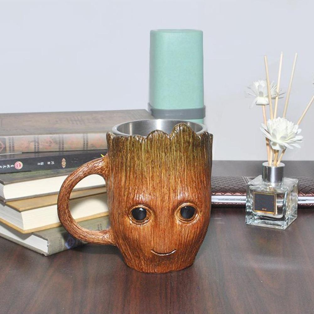 Taza de agua de acero inoxidable con diseño de árbol para café y oso, estéreo 3D de gran capacidad para regalo perfecto