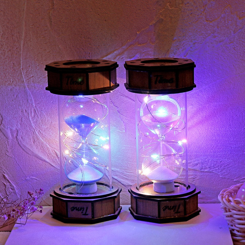 Timer octagonal wooden luminous hourglass small night light creative student gift study decoration decoration timer