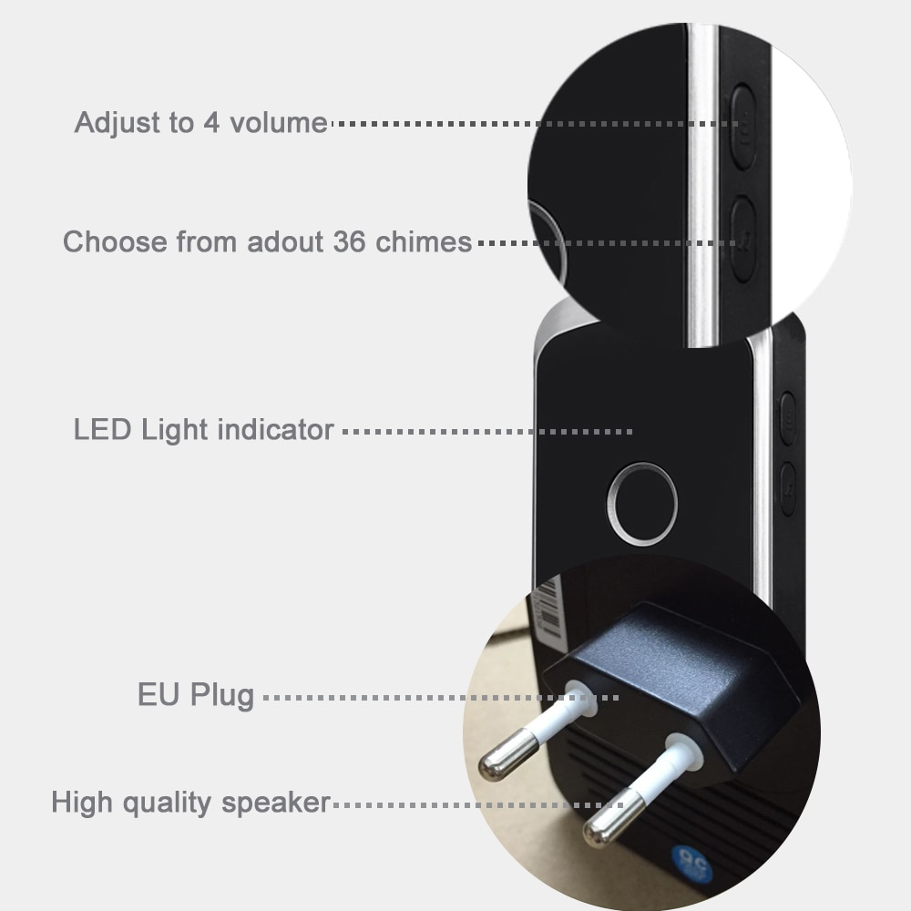 Wireless Waterproof Doorbell 300M Remote US EU UK AU Plug LED Flash Home Cordless Door Bell Chime 1 2 Buttons 1 2 3 Receivers enlarge