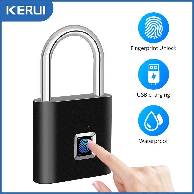 KERUI Keyless USB Charging Fingerprint Lock Smart Padlock door lock 0.1sec Unlock Portable Anti-theft Fingerprint Padlock Zinc