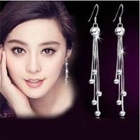 new arrival high quality long tassels design 925 sterling silver female stud earrings wholesale jewelry drop shipping