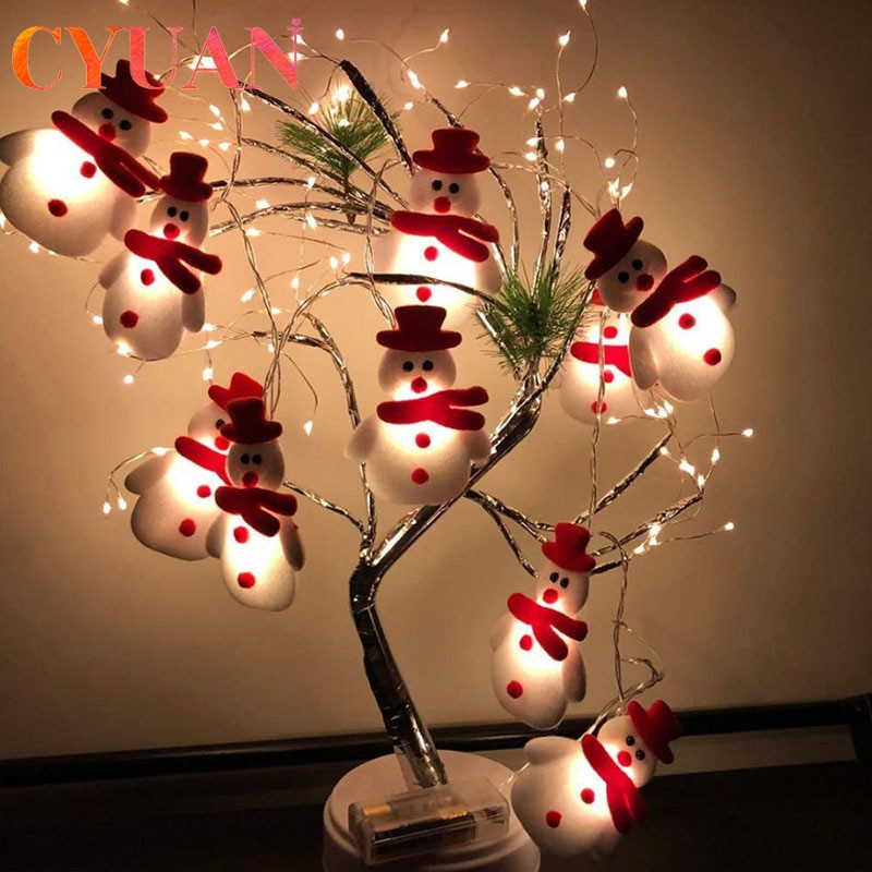 СВЕТОДИОДНАЯ Гирлянда CYUAN 1,6 м в виде снеговика на рождественскую елку, гирлянда, рождественские подарки, рождественские и новогодние празд...