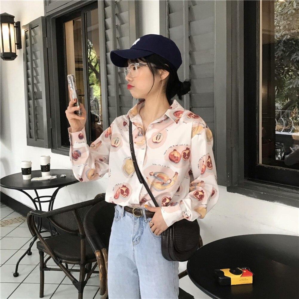 2019 nuevo diseño de moda Blusa de gasa para mujer Blusa de manga larga suelta para mujer camisa de oficina suelta con estampado de fruta Linda 1