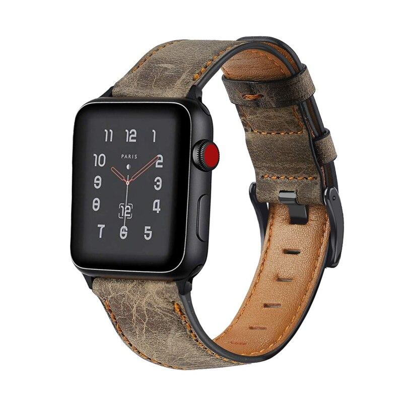 Correa para apple watch 5 4 apple watch banda 42mm 38mm 44mm 40mm Correa iwatch serie 5/4 /3/2/1 pulsera de cuero genuino Retro