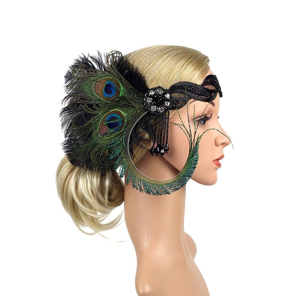 Serre-tête à plumes pour filles   Accessoires de cheveux 1920s, bandeau à plumes pour femmes, bandes de cheveux Vintage