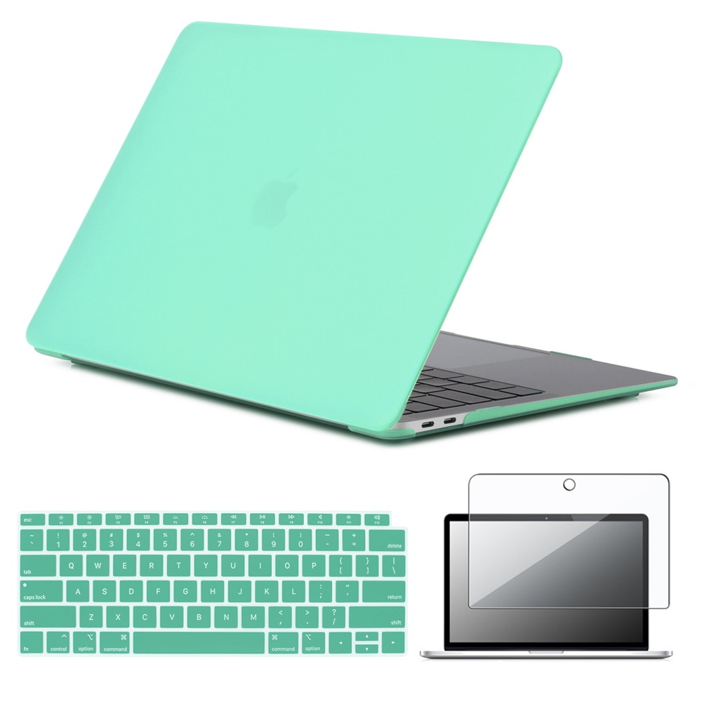 For Apple Macbook 12 /Air 11/Air 13/Pro 13/Pro 15 Rubberized Matte Green Laptop Cover Case+US Keyboard skin+Screen Protector