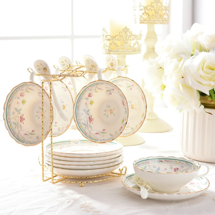 Taza de té de flor nórdica, hueso de China, bonito juego de Copa grande y platillo, soporte de diseño, regalo, tazas de café turco, taza de utensilios Xicara AC50BD