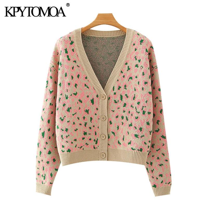 Kpytomoa 2020 moda leopardo padrão recortado malha cardigan camisola do vintage manga longa solta feminino outerwear chique topo