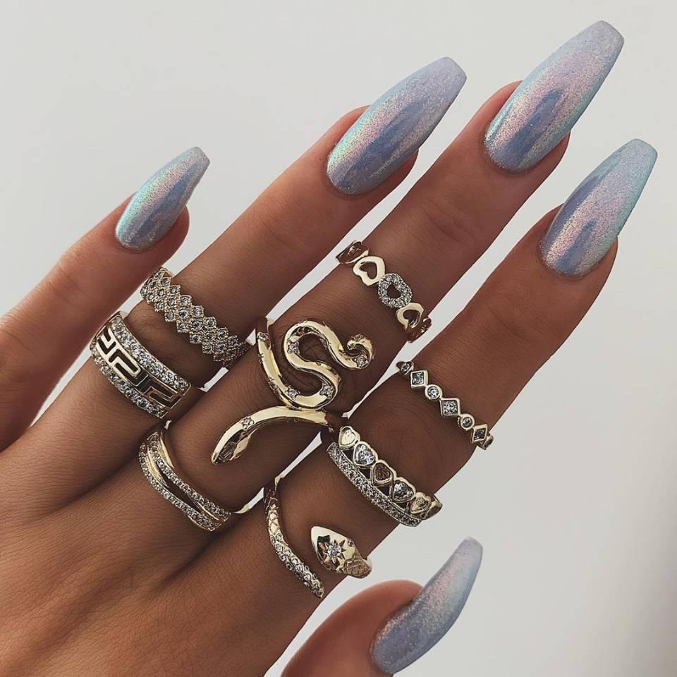 Juego de anillos con forma de corazón y serpiente de diamante de imitación, de estilo Golden Pop, 8 piezas, accesorios de joyería gótica para mujer para fiesta de graduación
