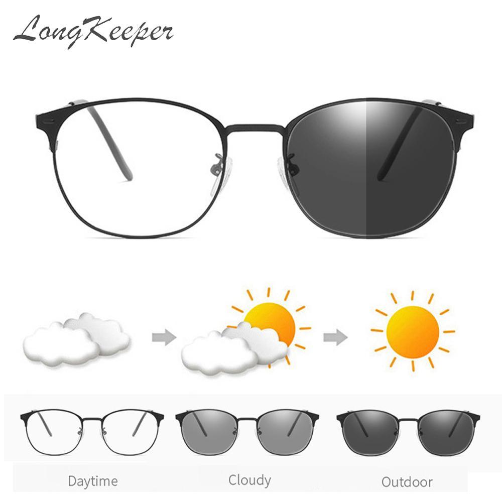 Metal Square Anti-Blue Light Computer Glasses Men Women Photochromic Sunglasses Color Changed Eyewea