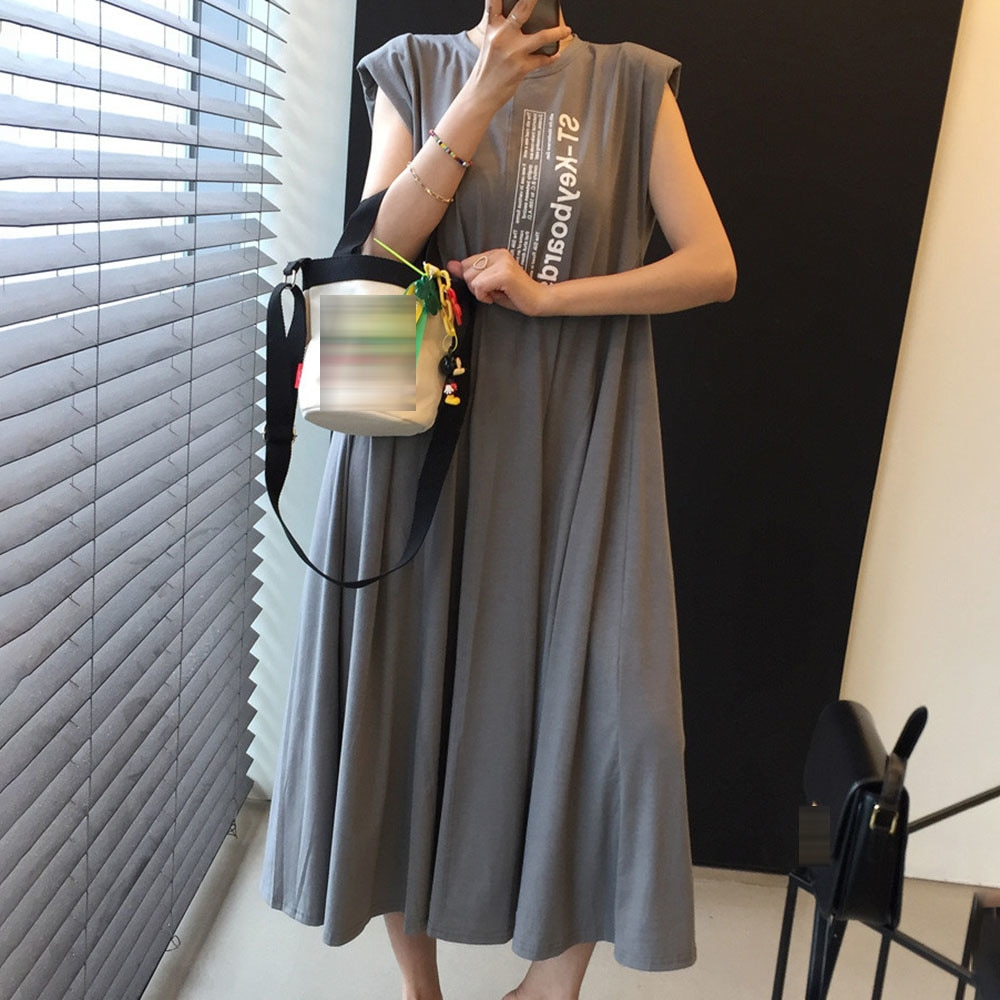 2021 Fashion Casual Printing Summer Women's Dress Japanese Style Loose Solid Color Letter Printing S