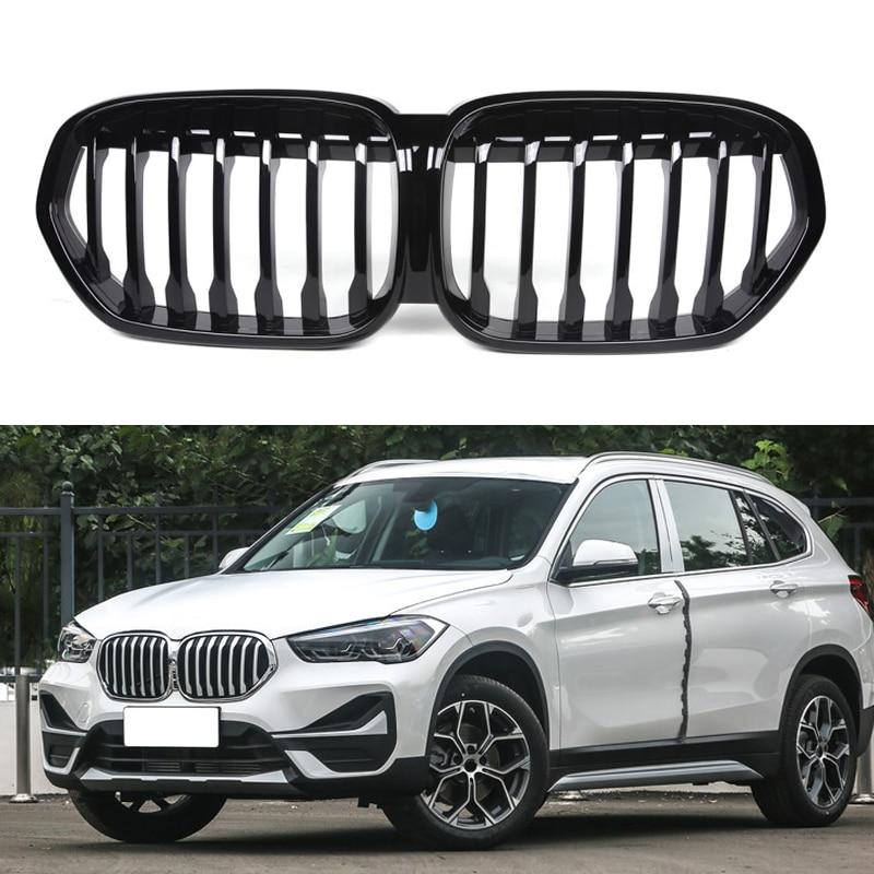 Rejilla de riñón para parachoques delantero de coche para BMW X1 F48 2020 ABS, rejilla negra brillante para carreras, accesorios de estilo de coche