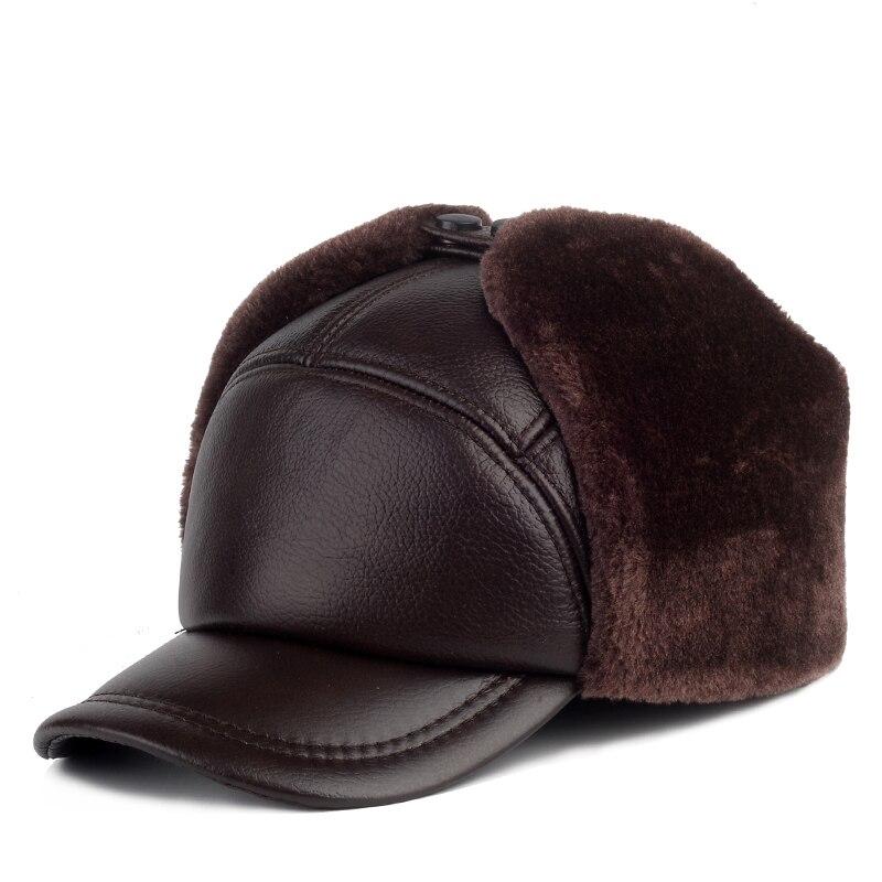 قبعة شتوية من الجلد الطبيعي للرجال ، قبعة بيسبول سميكة ودافئة من جلد البقر مع آذان ، قبعة أبي