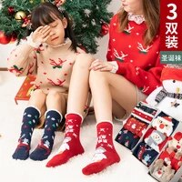 3pcs childrens socks for autumn and winter girls plus velvet thickening warm combed cotton socks winter cartoon christmas socks
