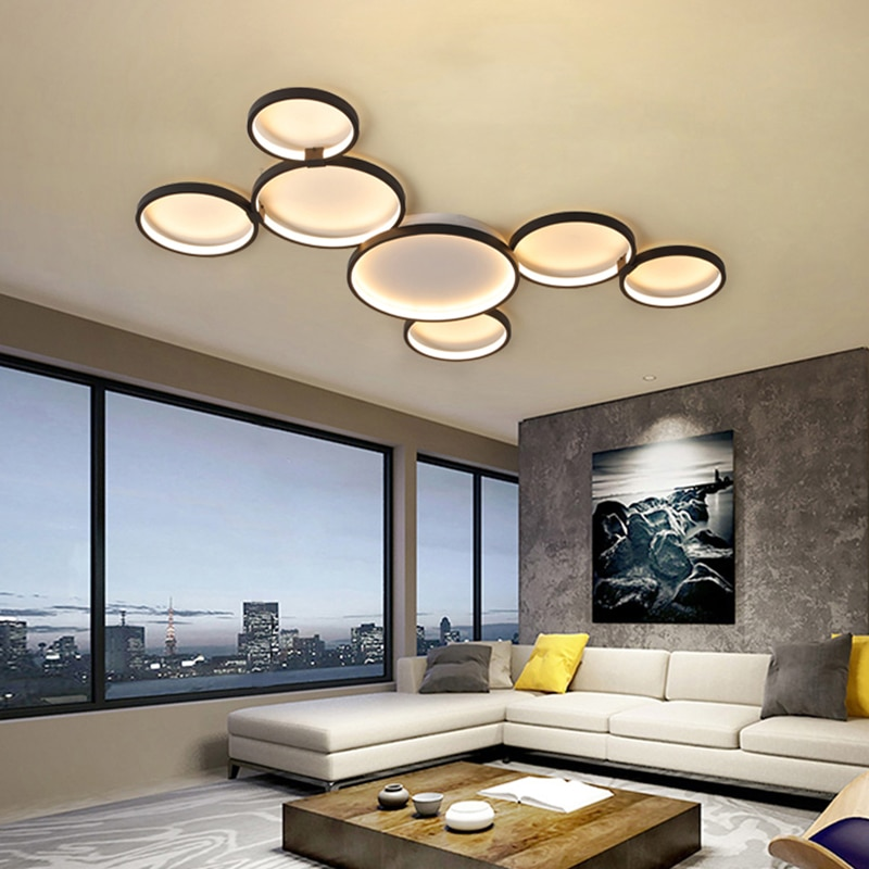 NEO Gleam Minimalism Black color Modern Led Pendant Chandelier For Dining Kitchen Room Bar Living Room Deco Chandelier Fixture  - buy with discount