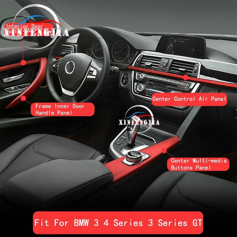 For 3 4 Series 3GT F30 F34 13-18 Inside Door Handle Inside Door Mouldings Stripe Center Multi-media Buttons Panel Cover Trim