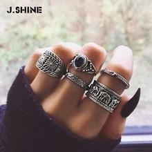Jshine 5 Stks/sets Black Resin Brede Ring Sets Voor Vrouwen 2020 Vintage Retro Gesneden Olifant Mannen Joint Ringen Punk Accessoires