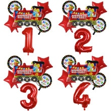 6pcs Red Star Happy Birthday Train Foil Balloons Set 30inch Number Balloon Kids Birthday Party Decor