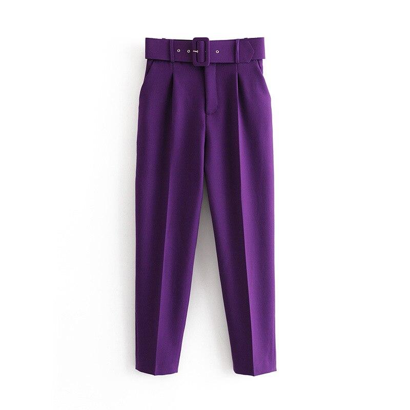 ¡Novedad de 2020! Pantalones Capris casuales de color morado para mujer, con cinturón, cintura alta, amarillo, chic, para oficina, bragas para damas, pantalones de calle, pantalones femeninos