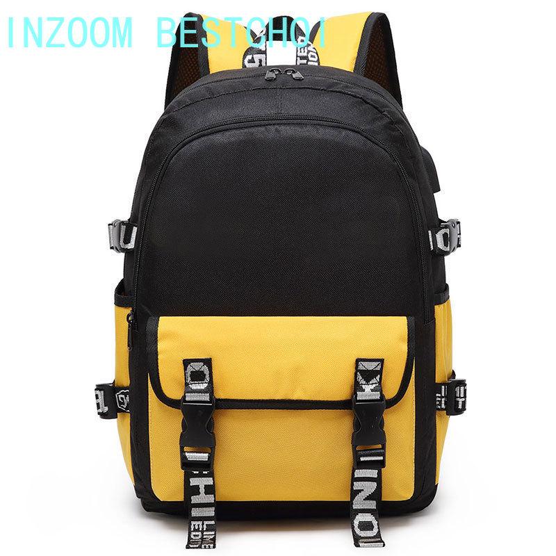 موضة حقيبة ظهر أكسفورد غير رسمية متعددة الوظائف التباين اللون طالب حقيبة مدرسية السفر في الهواء الطلق سعة كبيرة الكل مباراة حزمة