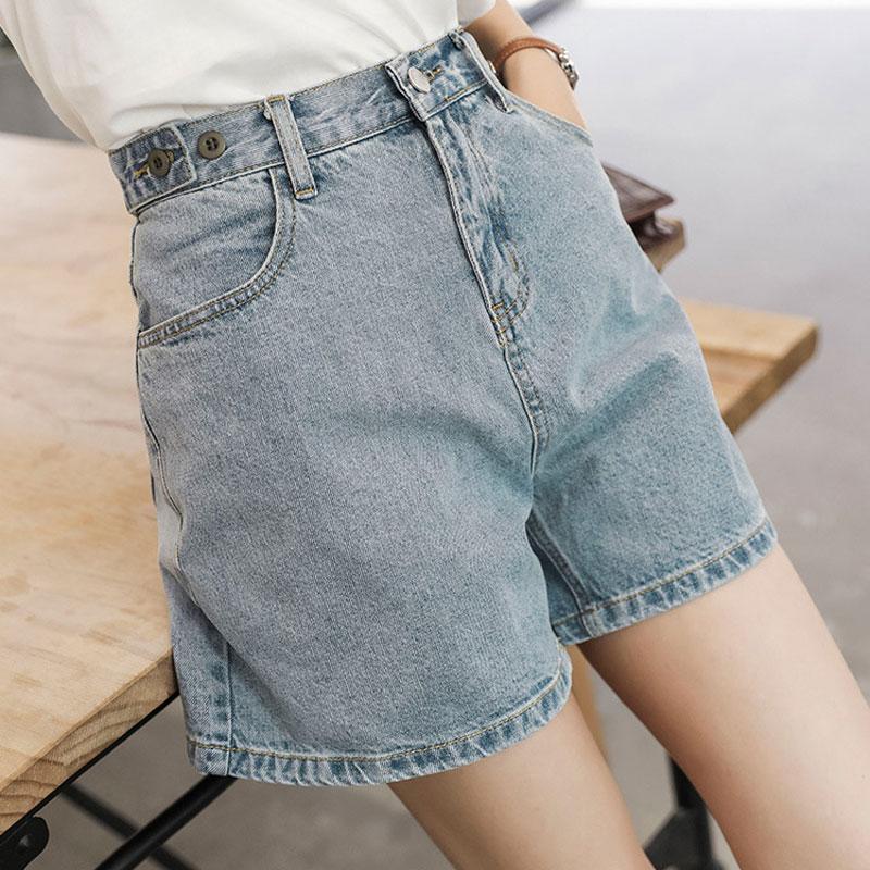 Womens Denim Shorts summer Thin High Waist denim blue loose casual womens pants student shorts outside