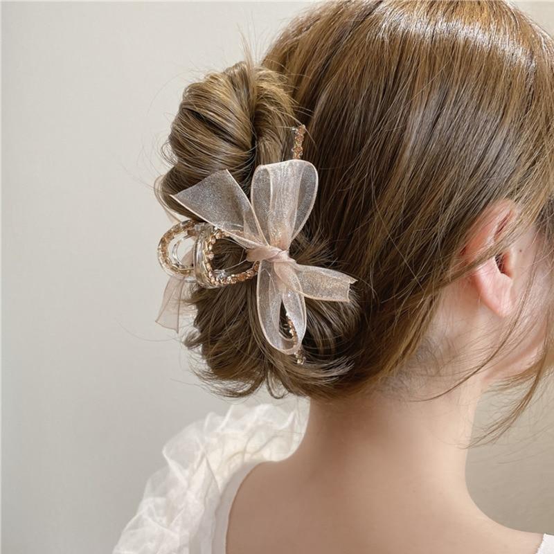 AliExpress - New Korean Elegant Mesh Bow Hair Claws For Women Girls Hair Clip Large Grab Clips Shark Clip Crystal Hair Accessories OH2406
