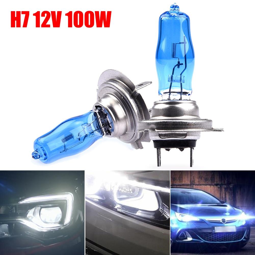 2Pcs Super White Halogen Bulb  H7 100W Auto Lamp Fog Lights 4500K Car Headlight