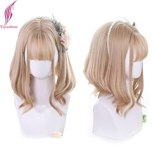 Yiyaobess Multicolor Ombre Lolita Wig With Bangs Auburn Brown Heat Resistant Synthetic Hair Short Wavy Cosplay Wigs For Women